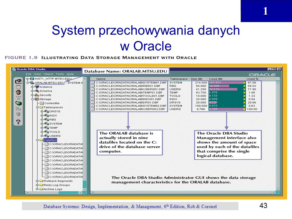 1 43 Database Systems: Design, Implementation, & Management, 6 th Edition, Rob & Coronel System przechowywania danych w Oracle