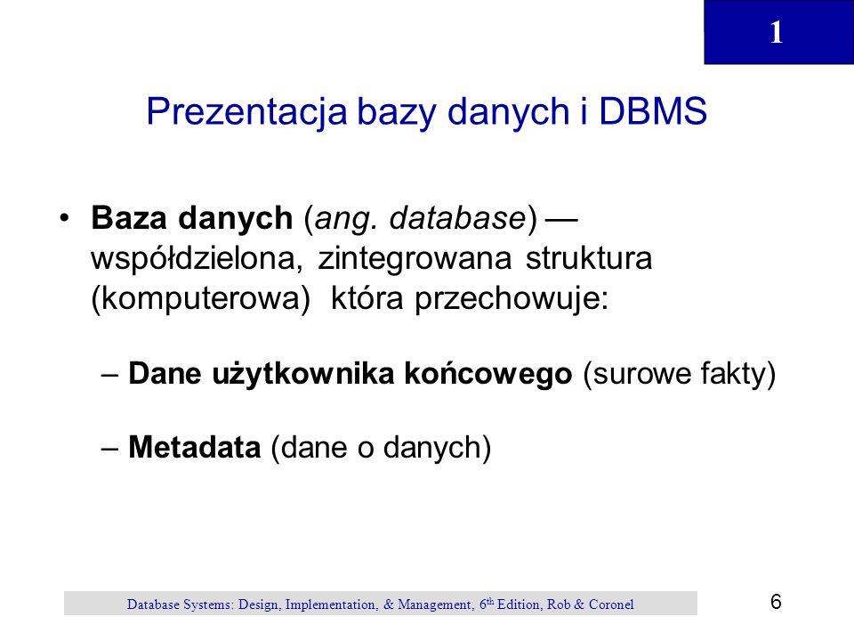 1 7 Database Systems: Design, Implementation, & Management, 6 th Edition, Rob & Coronel Prezentacja bazy danych i DBMS ( kontynuacja ) DBMS (ang.