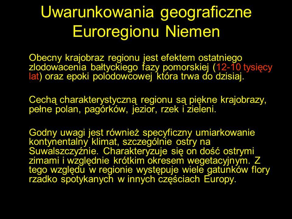 Uwarunkowania geograficzne Euroregionu Niemen Obecny krajobraz regionu jest efektem ostatniego zlodowacenia bałtyckiego fazy pomorskiej (12-10 tysięcy