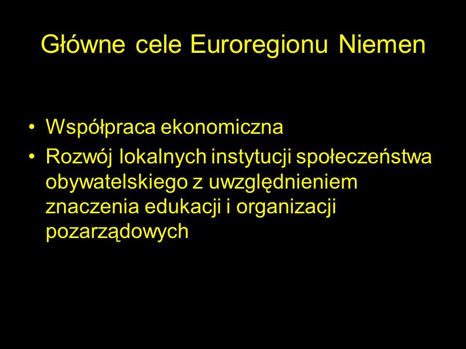Główne cele Euroregionu Niemen Współpraca ekonomiczna Rozwój lokalnych instytucji społeczeństwa obywatelskiego z uwzględnieniem znaczenia edukacji i o