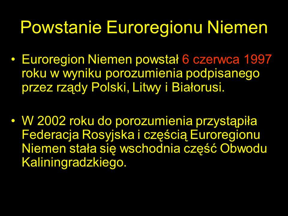 Powstanie Euroregionu Niemen Euroregion Niemen powstał 6 czerwca 1997 roku w wyniku porozumienia podpisanego przez rządy Polski, Litwy i Białorusi. W