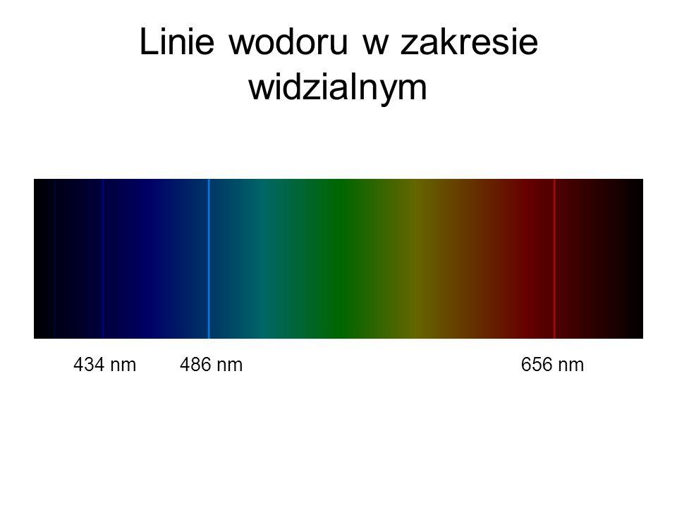 Linie wodoru w zakresie widzialnym 434 nm486 nm656 nm