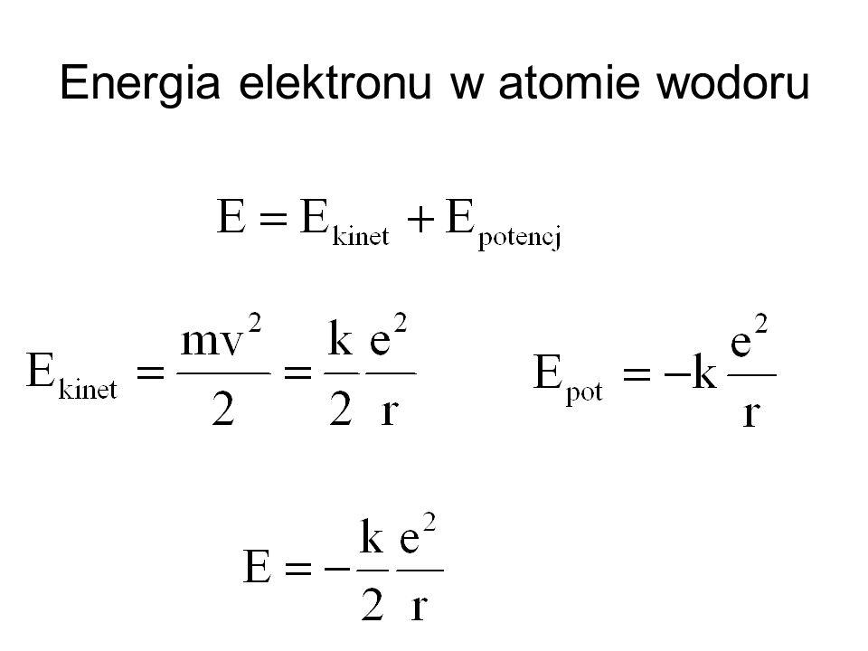 Energia elektronu w atomie wodoru