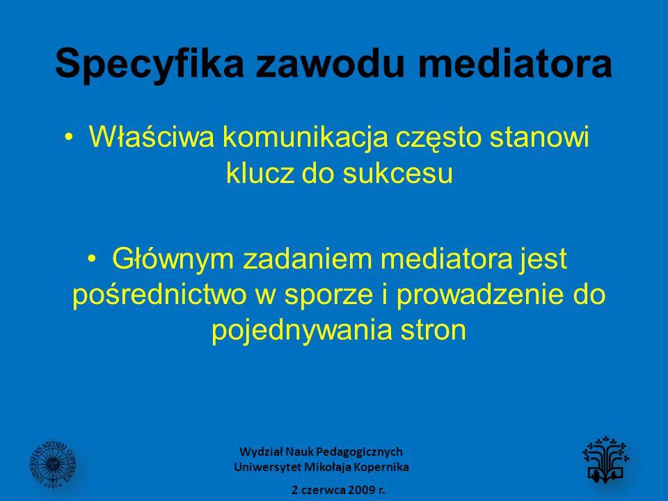 Specyfika zawodu mediatora Właściwa komunikacja często stanowi klucz do sukcesu Głównym zadaniem mediatora jest pośrednictwo w sporze i prowadzenie do pojednywania stron 2 czerwca 2009 r.
