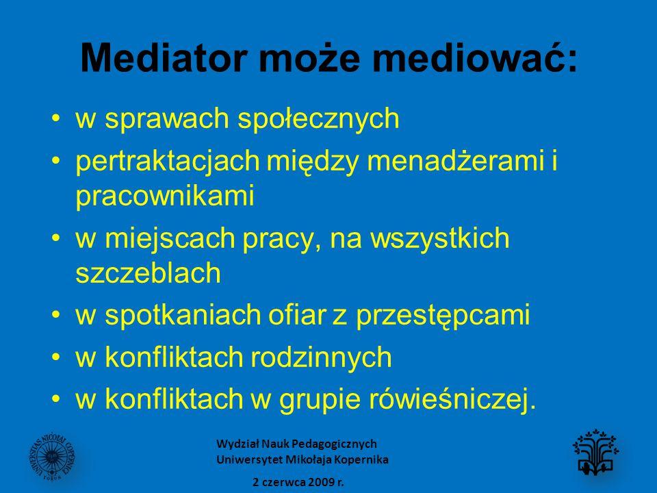 Mediator może mediować: w sprawach społecznych pertraktacjach między menadżerami i pracownikami w miejscach pracy, na wszystkich szczeblach w spotkani