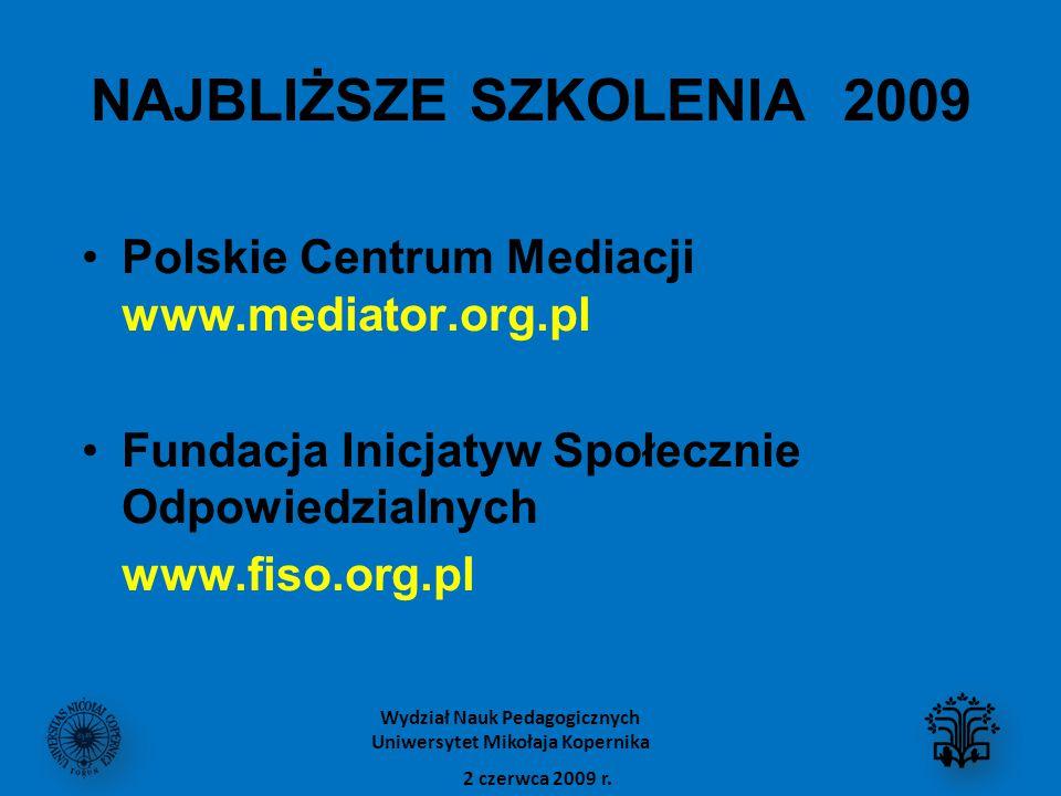 NAJBLIŻSZE SZKOLENIA 2009 Polskie Centrum Mediacji www.mediator.org.pl Fundacja Inicjatyw Społecznie Odpowiedzialnych www.fiso.org.pl 2 czerwca 2009 r.