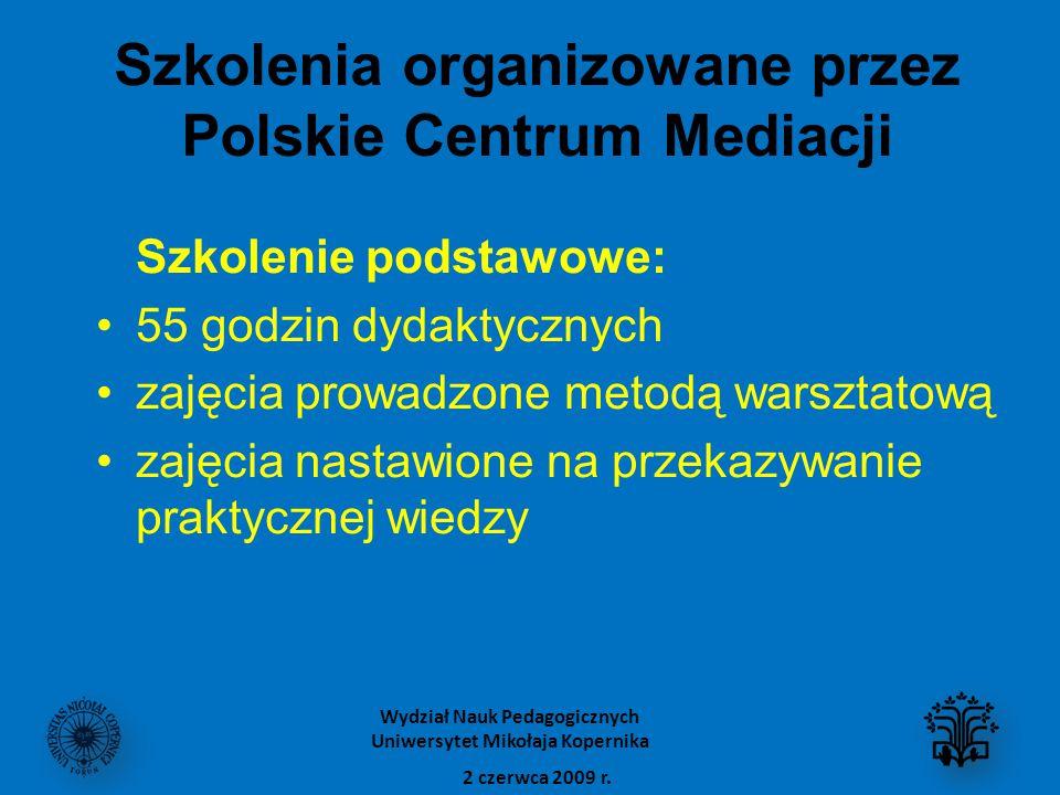 Szkolenia organizowane przez Polskie Centrum Mediacji Szkolenie podstawowe: 55 godzin dydaktycznych zajęcia prowadzone metodą warsztatową zajęcia nastawione na przekazywanie praktycznej wiedzy 2 czerwca 2009 r.