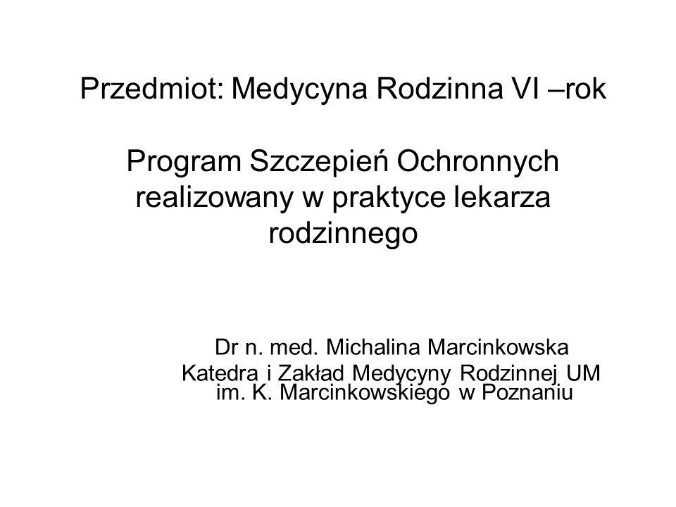 Program Szczepień Ochronnych realizowany w praktyce lekarza rodzinnego Zagadnienia ogólne: rodzaje immunoprofilaktyki, definicja szczepienia, rodzaje szczepionek Przeciwwskazania do szczepień: stałe i czasowe NOP (niepożądany odczyn poszczepienny)- definicja, rodzaje, postępowanie Kalendarz szczepień ochronnych: - szczepienia obowiązkowe - szczepienia zalecane