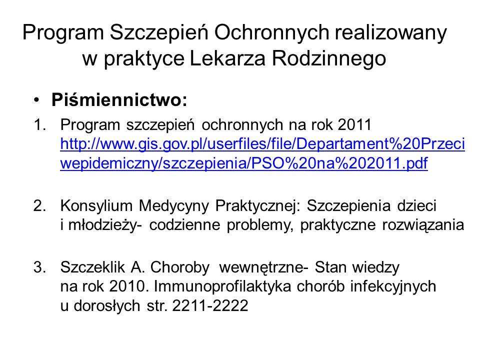 Program Szczepień Ochronnych realizowany w praktyce Lekarza Rodzinnego Piśmiennictwo: 1.Program szczepień ochronnych na rok 2011 http://www.gis.gov.pl/userfiles/file/Departament%20Przeci wepidemiczny/szczepienia/PSO%20na%202011.pdf http://www.gis.gov.pl/userfiles/file/Departament%20Przeci wepidemiczny/szczepienia/PSO%20na%202011.pdf 2.Konsylium Medycyny Praktycznej: Szczepienia dzieci i młodzieży- codzienne problemy, praktyczne rozwiązania 3.Szczeklik A.