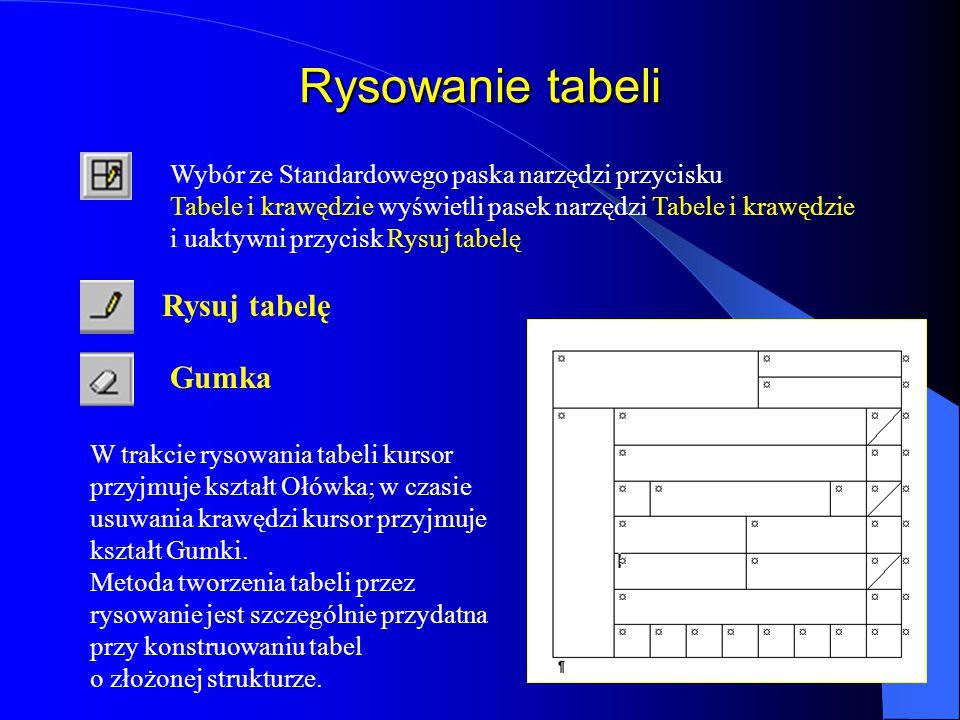 Tabele - wstawianie tabeli Tabelę można wstawić stosując przycisk Wstaw tabelę ze Standardowego paska narzędzi lub poleceniem Wstaw tabelę... z menu T
