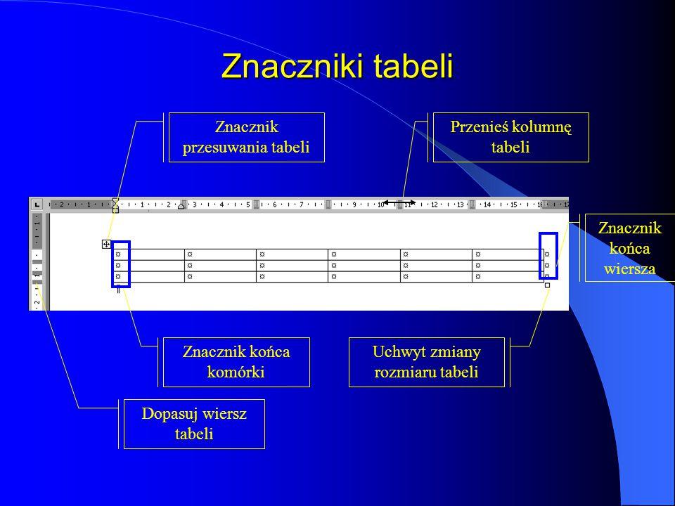 Rysowanie tabeli Wybór ze Standardowego paska narzędzi przycisku Tabele i krawędzie wyświetli pasek narzędzi Tabele i krawędzie i uaktywni przycisk Ry