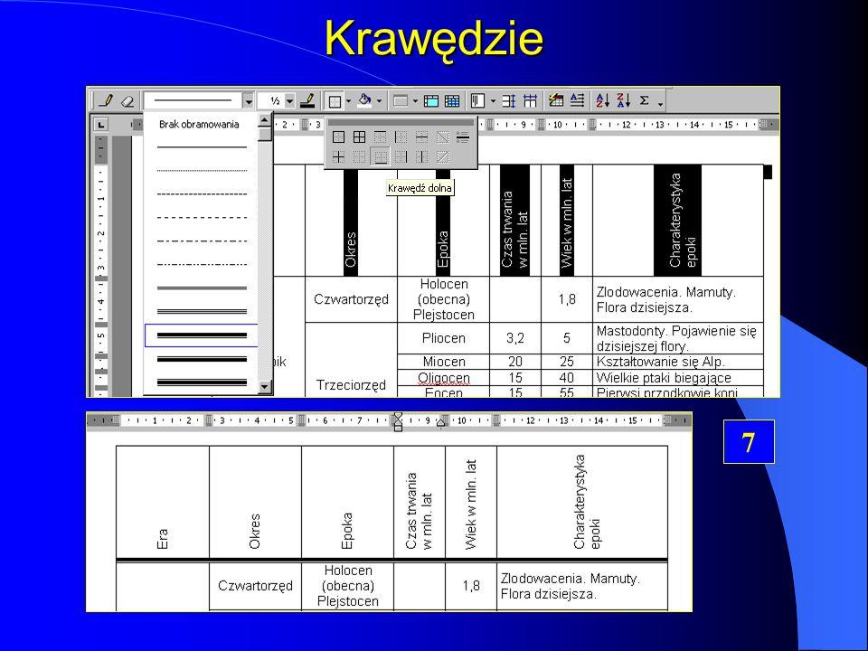 Wyrównywanie tekstu w komórkach Kierunek tekstu pionowy Kierunek tekstu poziomy 6