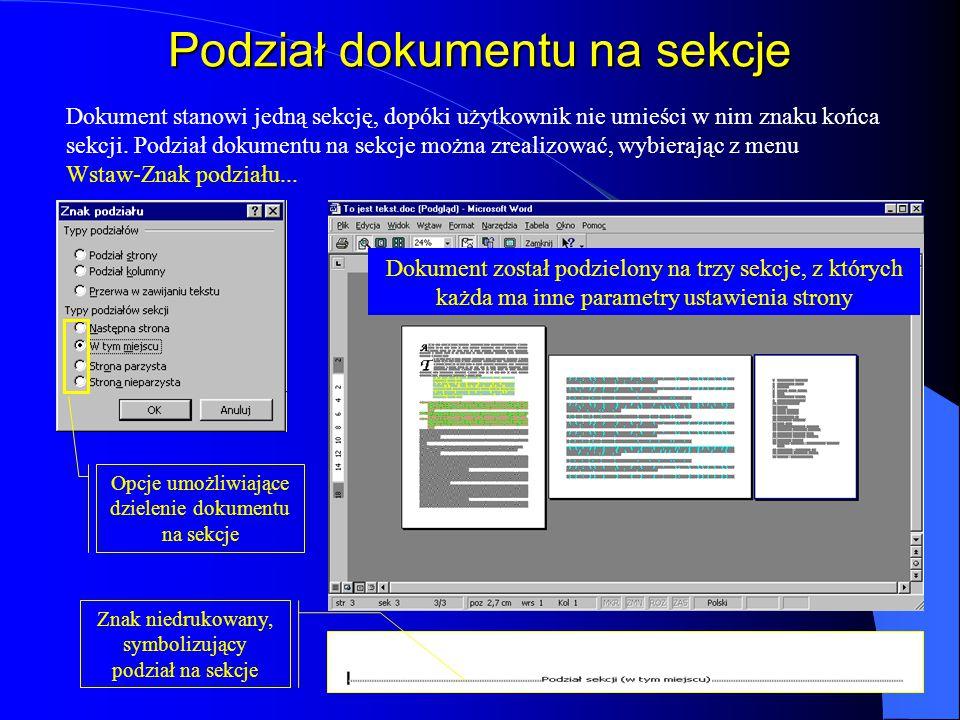 Sekcje dokumentu rozmiar i orientację strony, marginesy, obramowanie stron, źródło papieru w drukarce, wyrównywanie w pionie, nagłówki i stopki, numer
