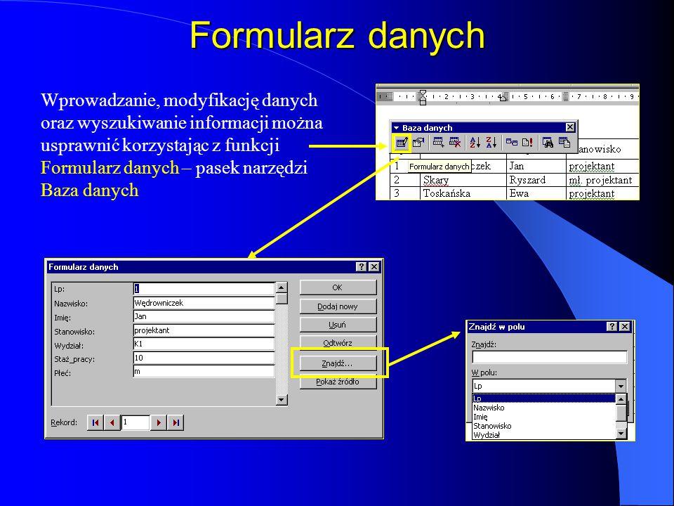 Tabela danych Plik danych to tabela z nagłówkami w kolumnach. Każda kolumna powinna zawierać pole, które będzie używane w dokumencie głównym, jako pol