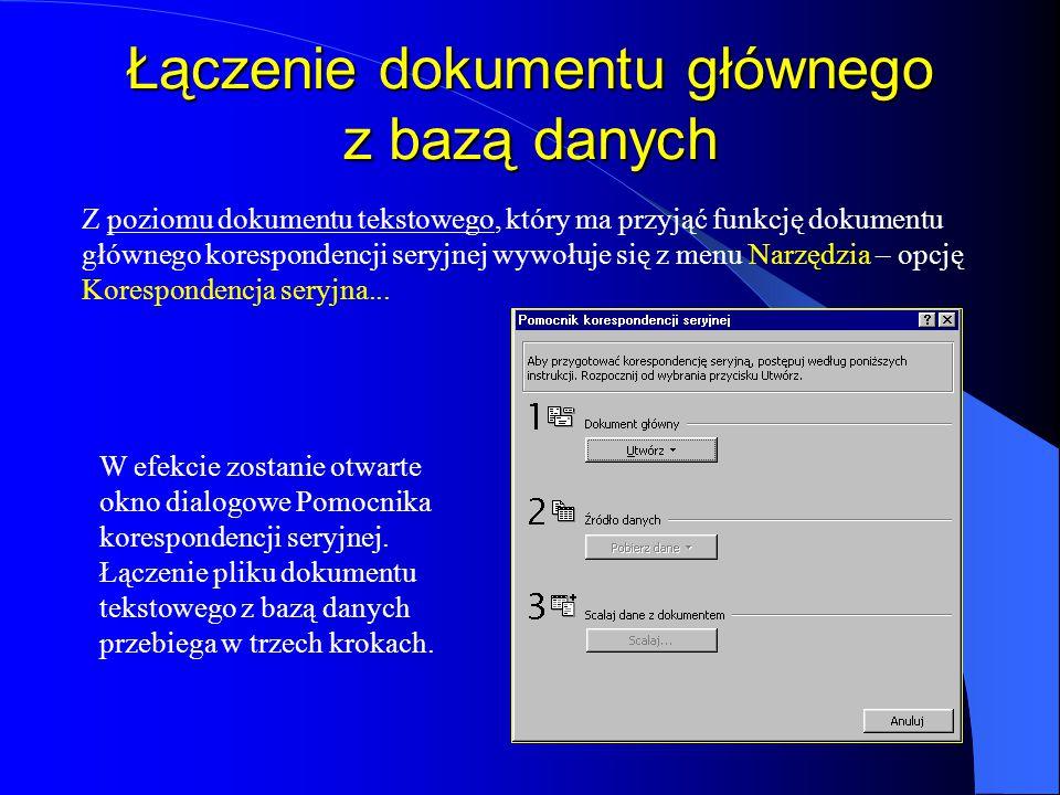 Modyfikacja struktury bazy danych Zmiana struktury, polegająca na usunięciu, dodaniu pola lub zmianie nazwy możliwa jest w oknie dialogowym Zarządzaj