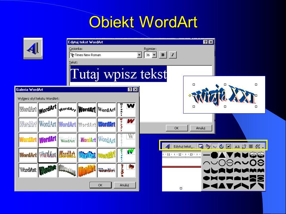Formatowanie obiektów graficznych Kolor linii Styl linii Styl kreskowania Styl strzałki