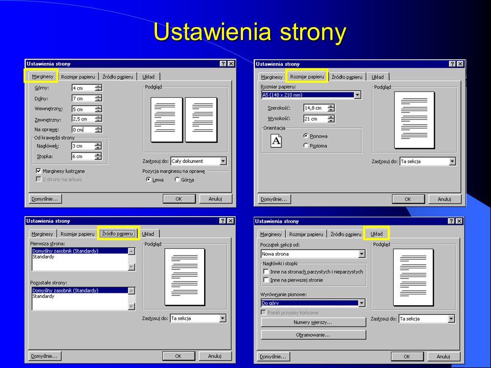 Formatowanie stron Po otwarciu okna nowego dokumentu program Word przyjmuje domyślne ustawienia opcji układu strony. Z podstawowych należałoby wymieni