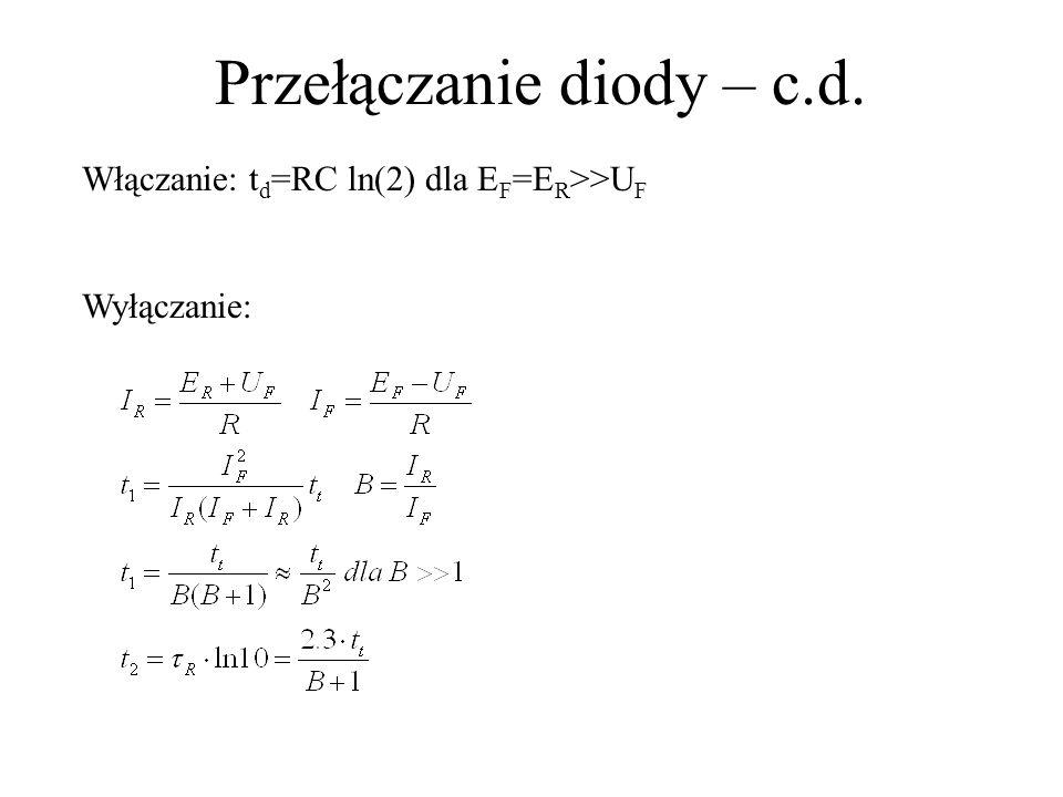 Przełączanie diody – c.d. Włączanie: t d =RC ln(2) dla E F =E R >>U F Wyłączanie: