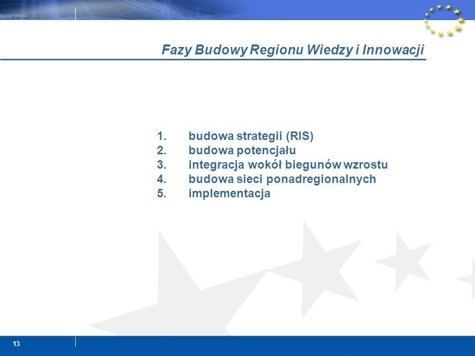 13 1.budowa strategii (RIS) 2.budowa potencjału 3.integracja wokół biegunów wzrostu 4.budowa sieci ponadregionalnych 5.implementacja Fazy Budowy Regionu Wiedzy i Innowacji