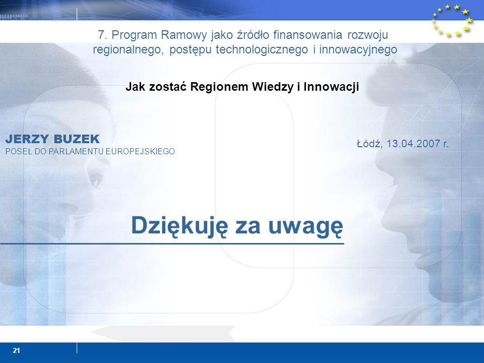 21 Dziękuję za uwagę JERZY BUZEK POSEŁ DO PARLAMENTU EUROPEJSKIEGO Łódź, 13.04.2007 r.