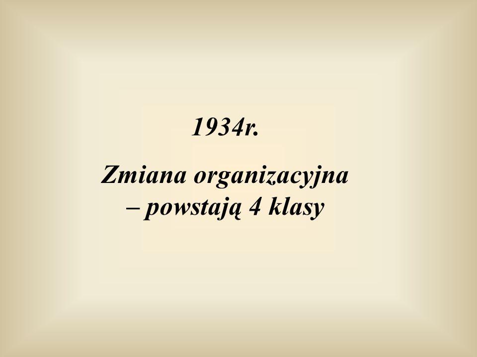 1934r. Zmiana organizacyjna – powstają 4 klasy