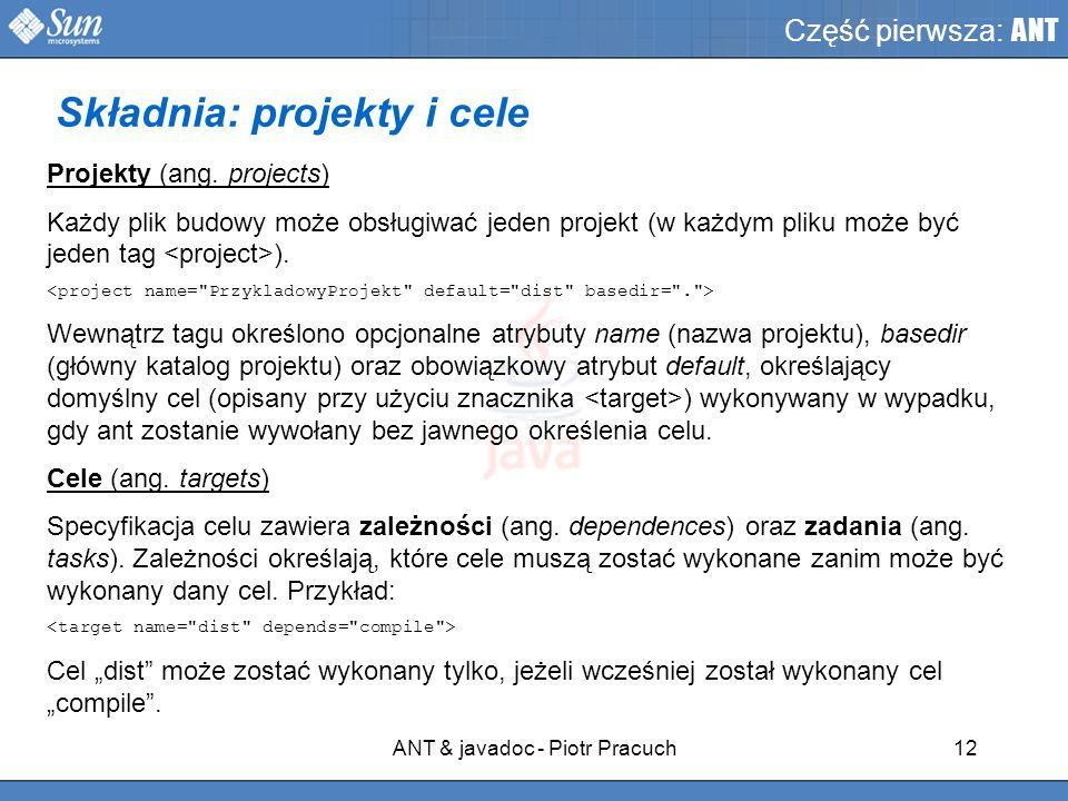 ANT & javadoc - Piotr Pracuch12 Część pierwsza: ANT Projekty (ang.
