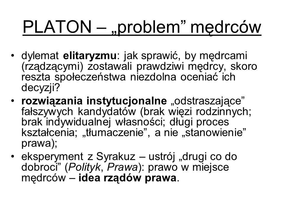 """PLATON – """"problem"""" mędrców dylemat elitaryzmu: jak sprawić, by mędrcami (rządzącymi) zostawali prawdziwi mędrcy, skoro reszta społeczeństwa niezdolna"""