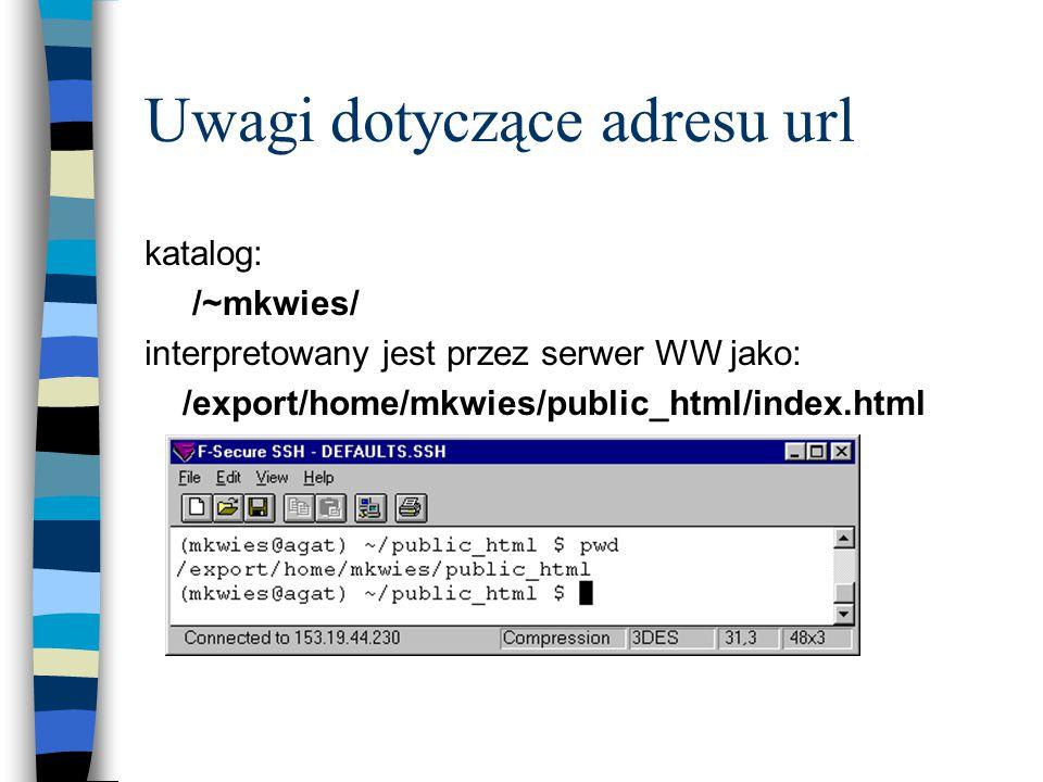 Uwagi dotyczące adresu url katalog: /~mkwies/ interpretowany jest przez serwer WW jako: /export/home/mkwies/public_html/index.html
