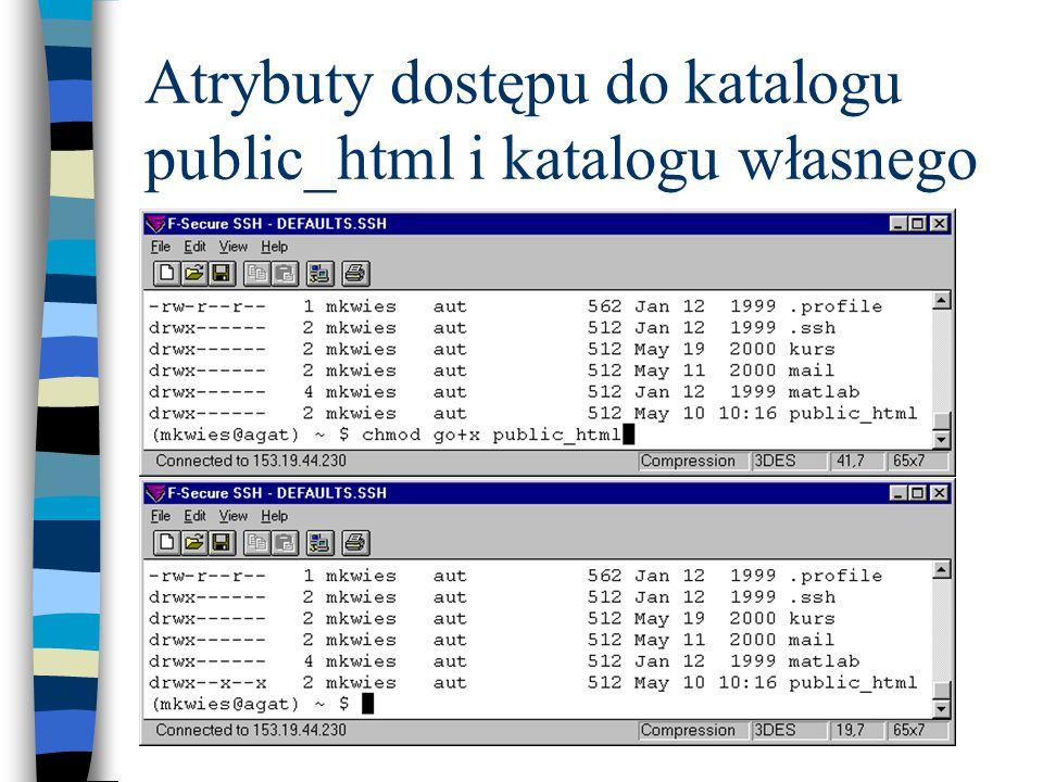 Atrybuty dostępu do katalogu public_html i katalogu własnego