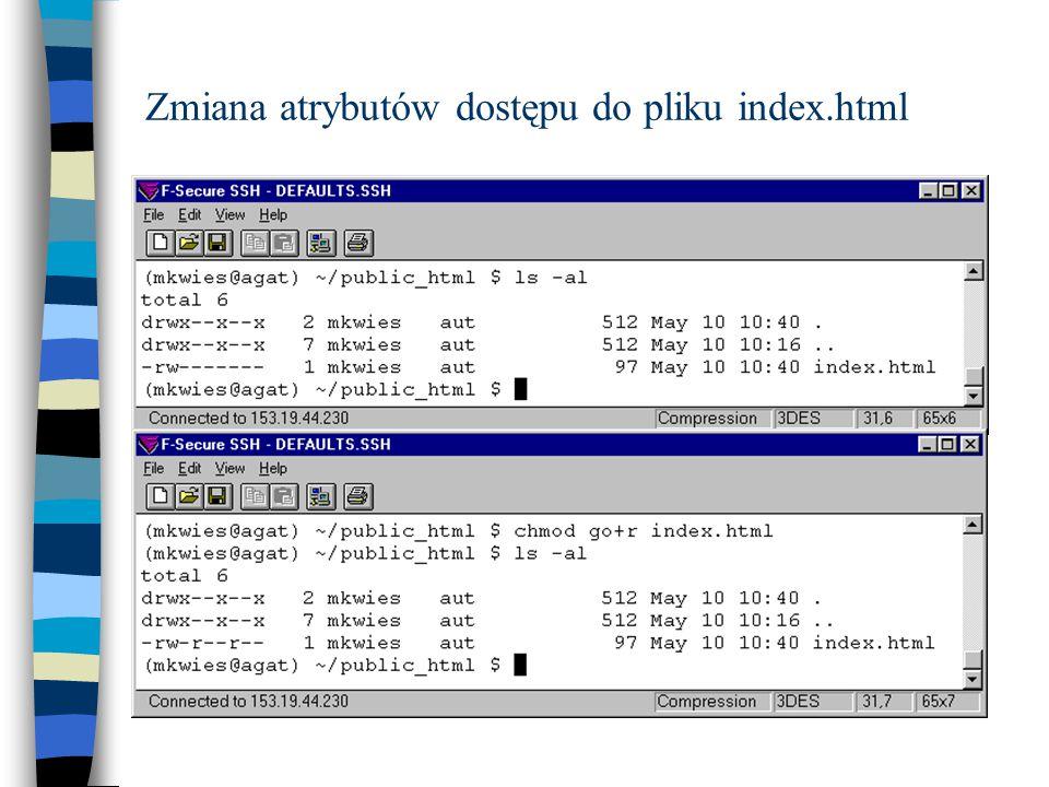 Zmiana atrybutów dostępu do pliku index.html