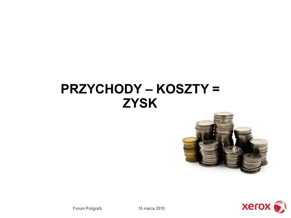 10 marca 2010Forum Poligrafii PRZYCHODY – KOSZTY = ZYSK