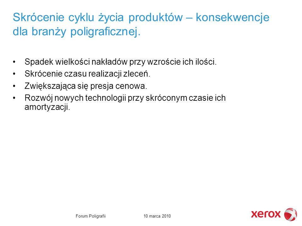 10 marca 2010Forum Poligrafii Skrócenie cyklu życia produktów – konsekwencje dla branży poligraficznej.
