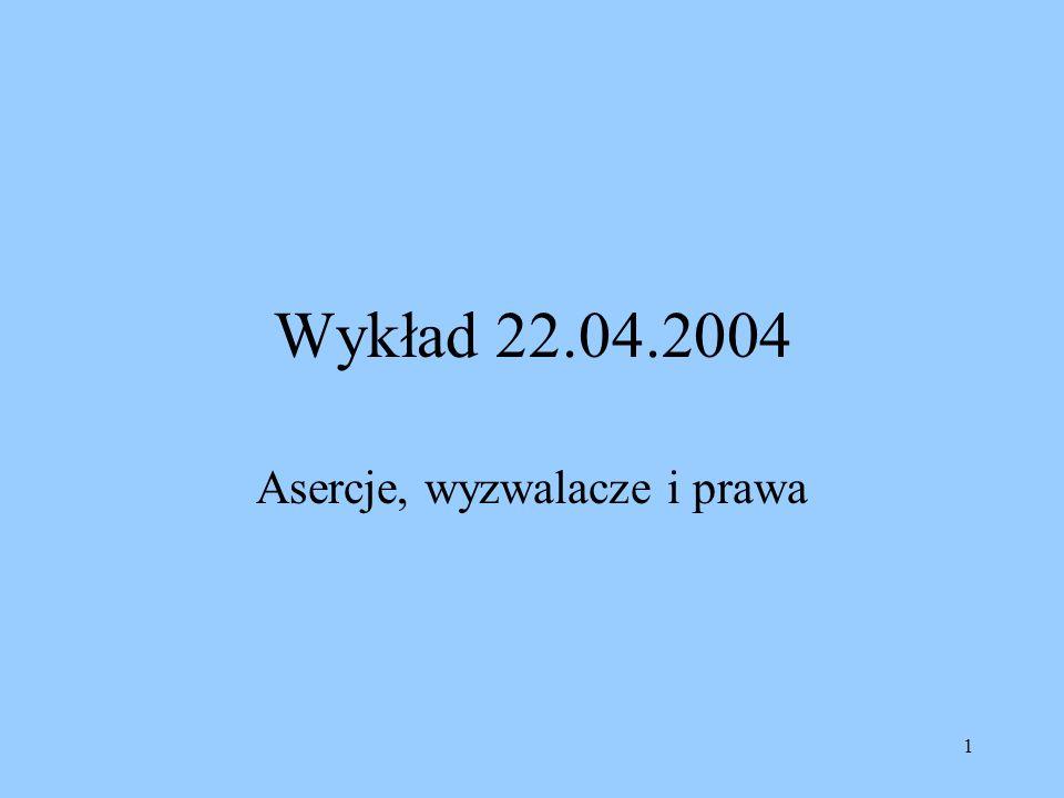 1 Wykład 22.04.2004 Asercje, wyzwalacze i prawa