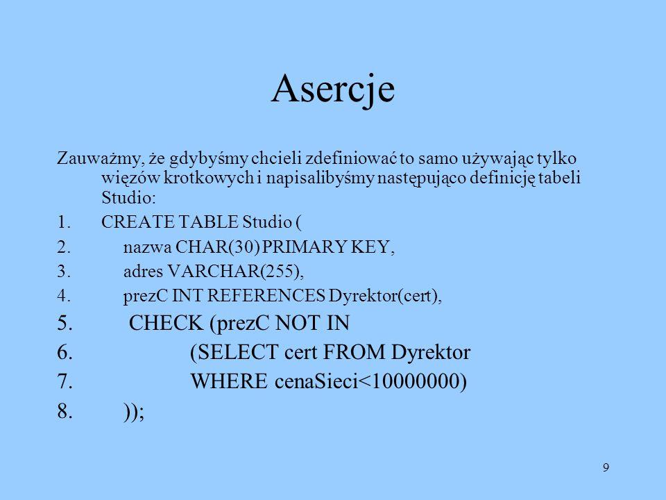 9 Asercje Zauważmy, że gdybyśmy chcieli zdefiniować to samo używając tylko więzów krotkowych i napisalibyśmy następująco definicję tabeli Studio: 1.CREATE TABLE Studio ( 2.nazwa CHAR(30) PRIMARY KEY, 3.adres VARCHAR(255), 4.prezC INT REFERENCES Dyrektor(cert), 5.