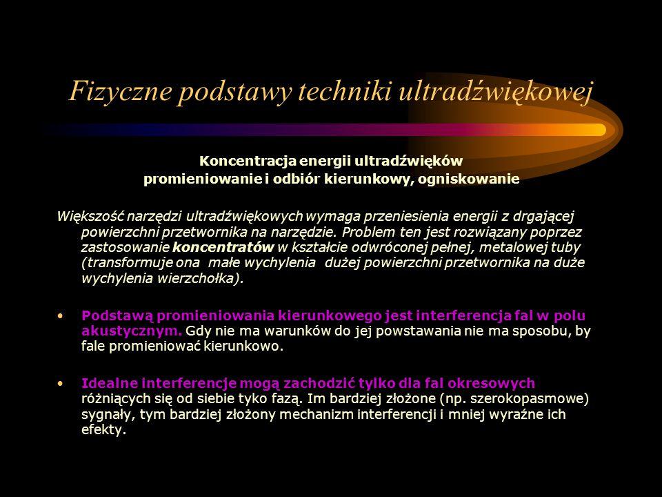 Fizyczne podstawy techniki ultradźwiękowej Koncentracja energii ultradźwięków promieniowanie i odbiór kierunkowy, ogniskowanie Większość narzędzi ultr
