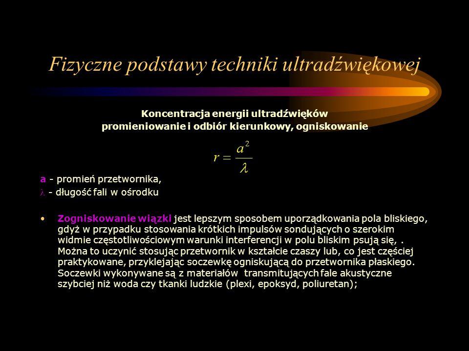 Fizyczne podstawy techniki ultradźwiękowej Koncentracja energii ultradźwięków promieniowanie i odbiór kierunkowy, ogniskowanie a - promień przetwornik