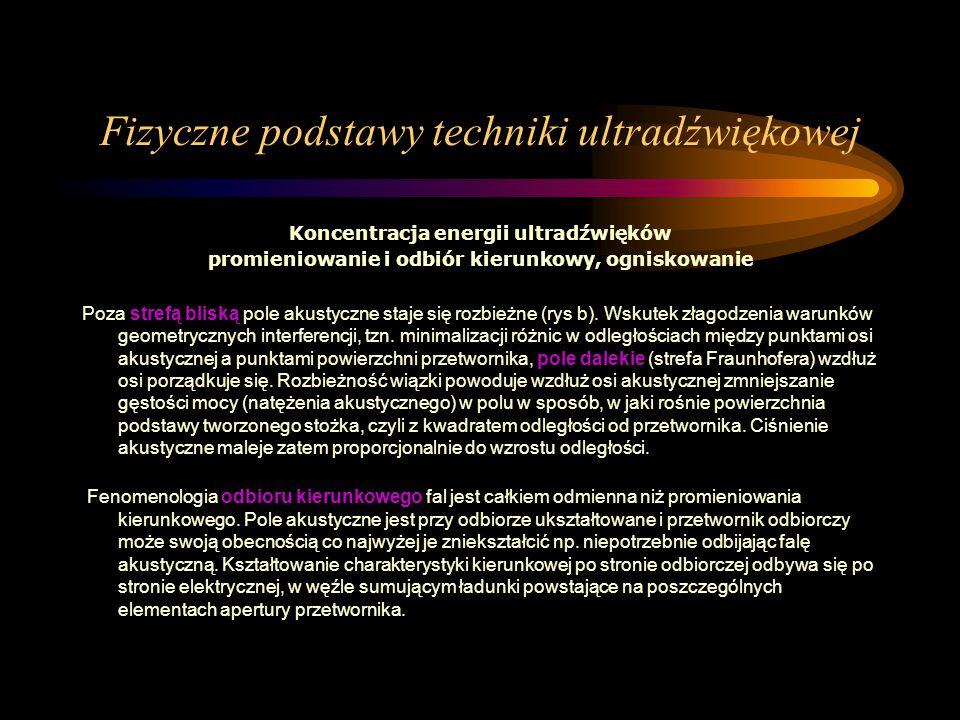 Fizyczne podstawy techniki ultradźwiękowej Koncentracja energii ultradźwięków promieniowanie i odbiór kierunkowy, ogniskowanie Poza strefą bliską pole