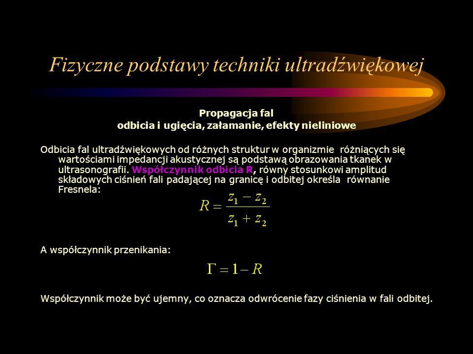 Fizyczne podstawy techniki ultradźwiękowej Propagacja fal odbicia i ugięcia, załamanie, efekty nieliniowe Odbicia fal ultradźwiękowych od różnych stru