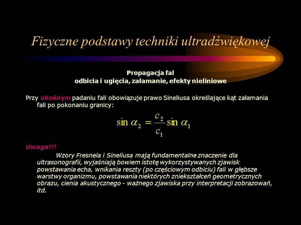 Fizyczne podstawy techniki ultradźwiękowej Propagacja fal odbicia i ugięcia, załamanie, efekty nieliniowe Przy ukośnym padaniu fali obowiązuje prawo S