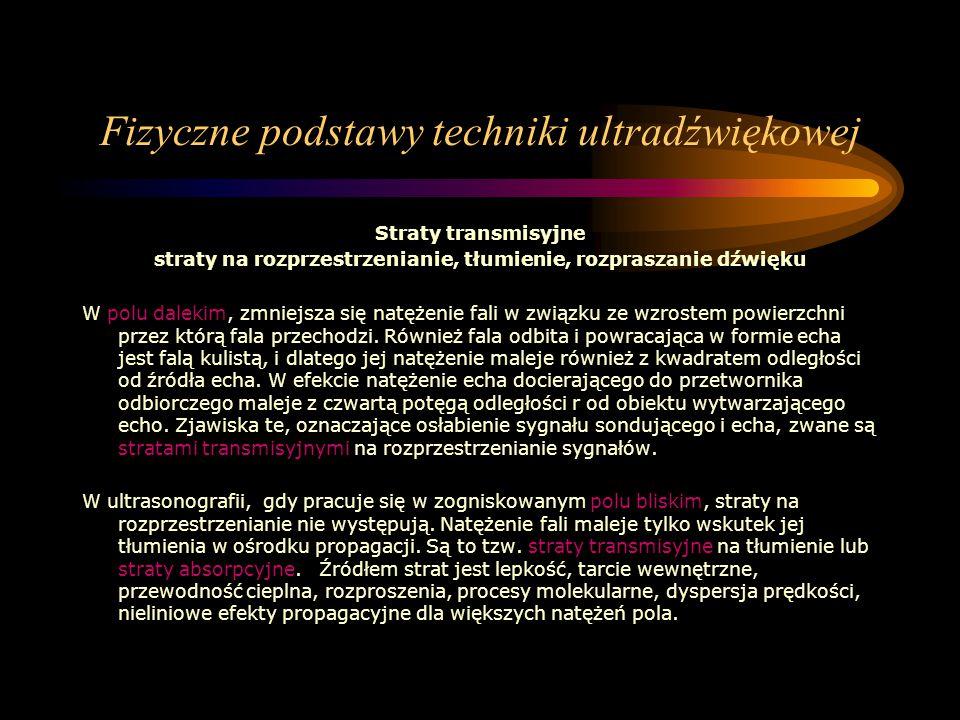 Fizyczne podstawy techniki ultradźwiękowej Straty transmisyjne straty na rozprzestrzenianie, tłumienie, rozpraszanie dźwięku W polu dalekim, zmniejsza