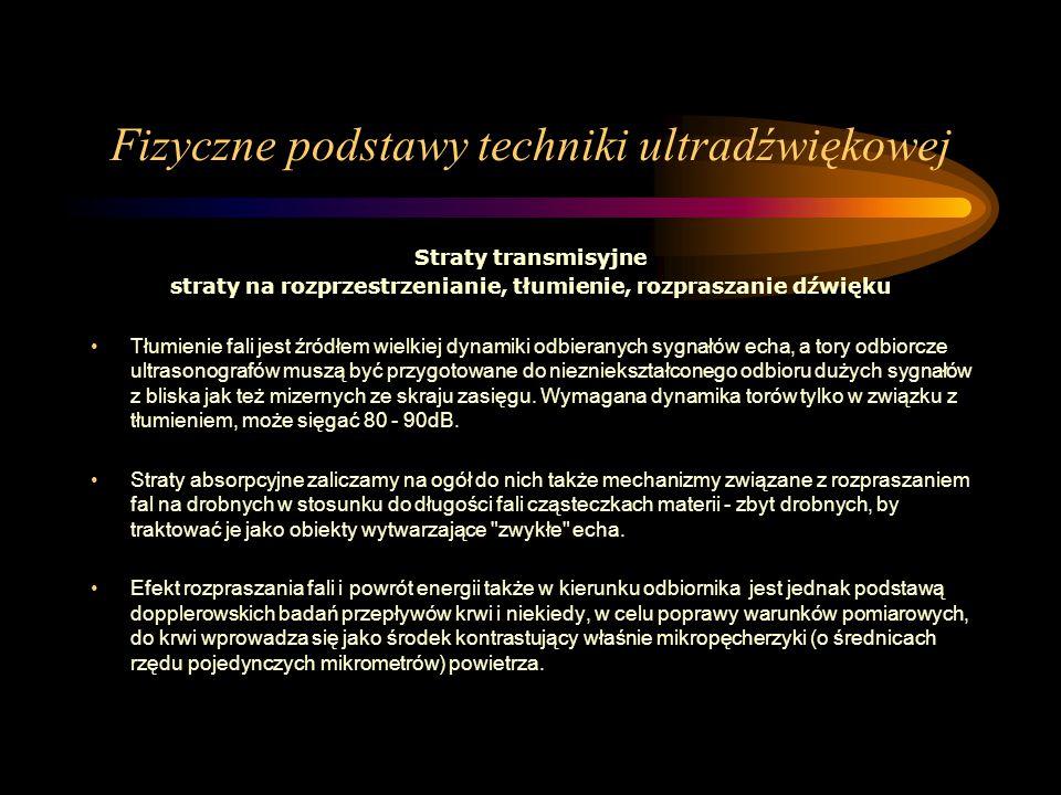 Fizyczne podstawy techniki ultradźwiękowej Straty transmisyjne straty na rozprzestrzenianie, tłumienie, rozpraszanie dźwięku Tłumienie fali jest źródł