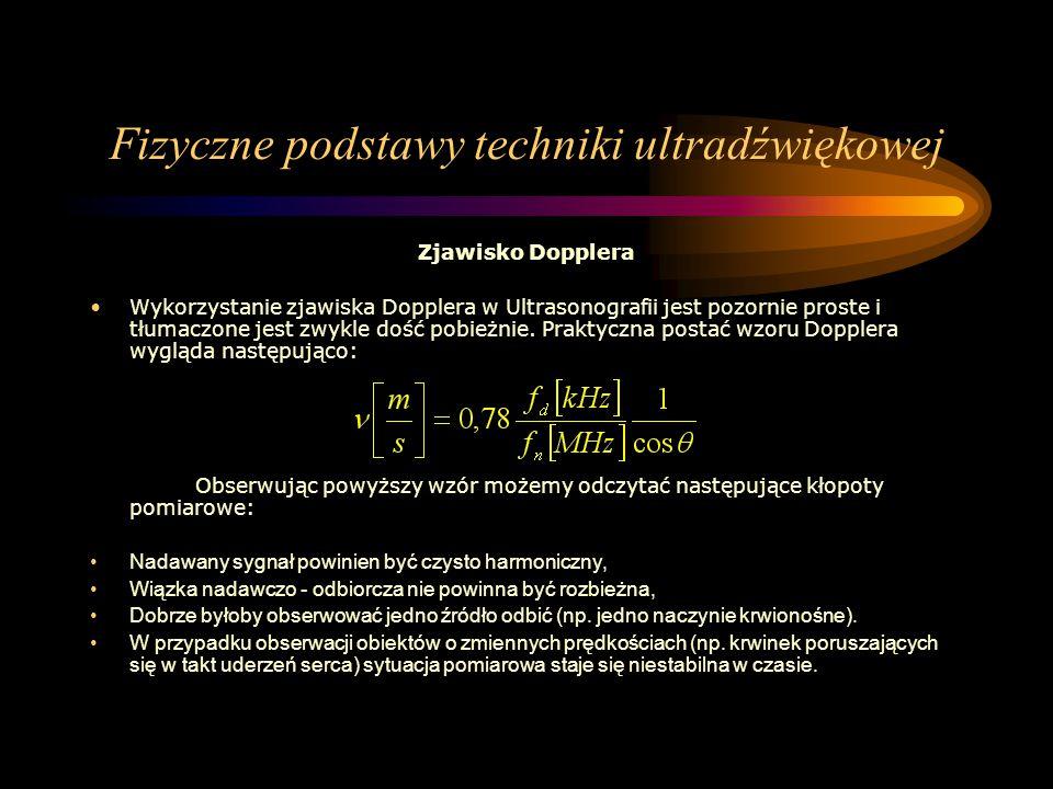 Fizyczne podstawy techniki ultradźwiękowej Zjawisko Dopplera Wykorzystanie zjawiska Dopplera w Ultrasonografii jest pozornie proste i tłumaczone jest