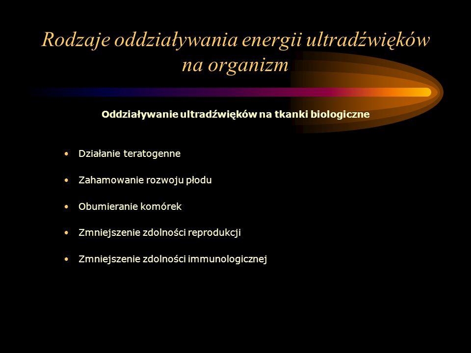 Rodzaje oddziaływania energii ultradźwięków na organizm Oddziaływanie ultradźwięków na tkanki biologiczne Działanie teratogenne Zahamowanie rozwoju pł