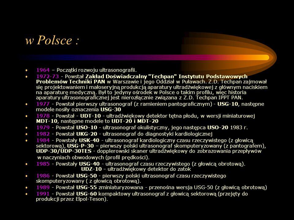 w Polsce : 1964 – Początki rozwoju ultrasonografii. 1972-73 - Powstał Zakład Doświadczalny