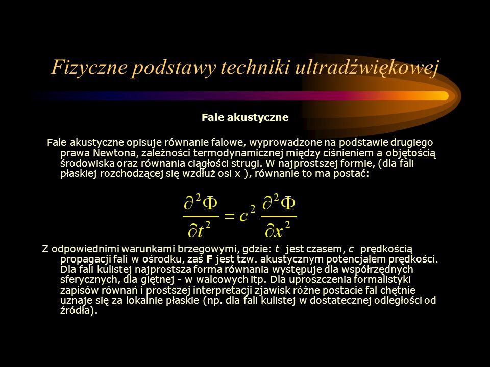 Fizyczne podstawy techniki ultradźwiękowej Fale akustyczne Fale akustyczne opisuje równanie falowe, wyprowadzone na podstawie drugiego prawa Newtona,