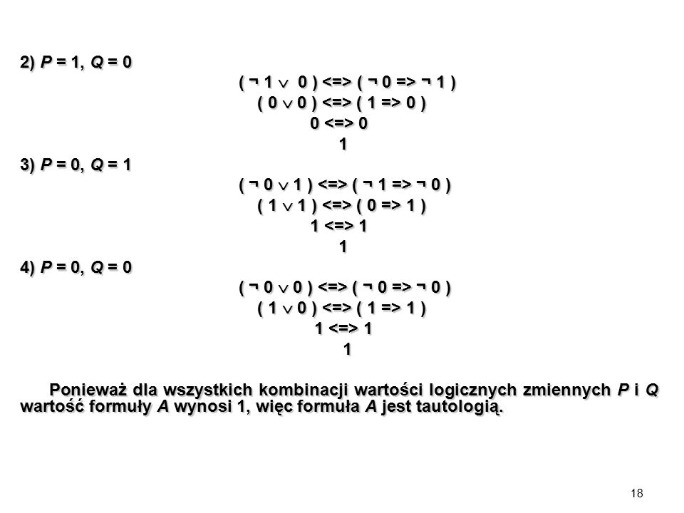 18 2) P = 1, Q = 0 ( ¬ 1  0 ) ( ¬ 0 => ¬ 1 ) ( ¬ 1  0 ) ( ¬ 0 => ¬ 1 ) ( 0  0 ) ( 1 => 0 ) ( 0  0 ) ( 1 => 0 ) 0 0 0 0 1 3) P = 0, Q = 1 ( ¬ 0  1