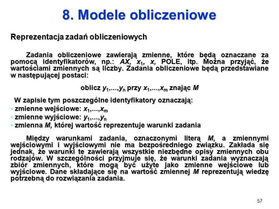 57 8. Modele obliczeniowe Reprezentacja zadań obliczeniowych Zadania obliczeniowe zawierają zmienne, które będą oznaczane za pomocą identyfikatorów, n