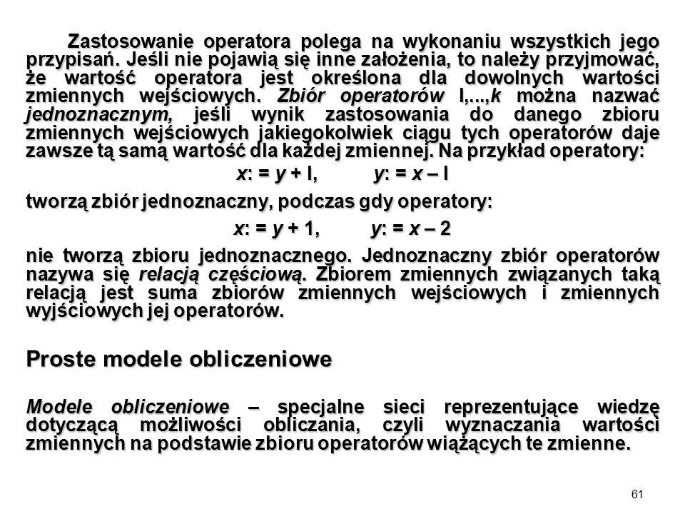 61 Zastosowanie operatora polega na wykonaniu wszystkich jego przypisań. Jeśli nie pojawią się inne założenia, to należy przyjmować, że wartość operat