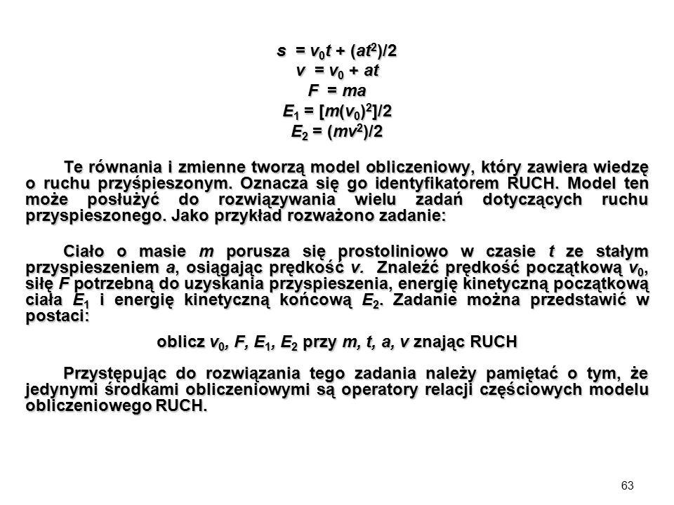 63 s = v 0 t + (at 2 )/2 v = v 0 + at F = ma E 1 = [m(v 0 ) 2 ]/2 E 2 = (mv 2 )/2 Te równania i zmienne tworzą model obliczeniowy, który zawiera wiedz