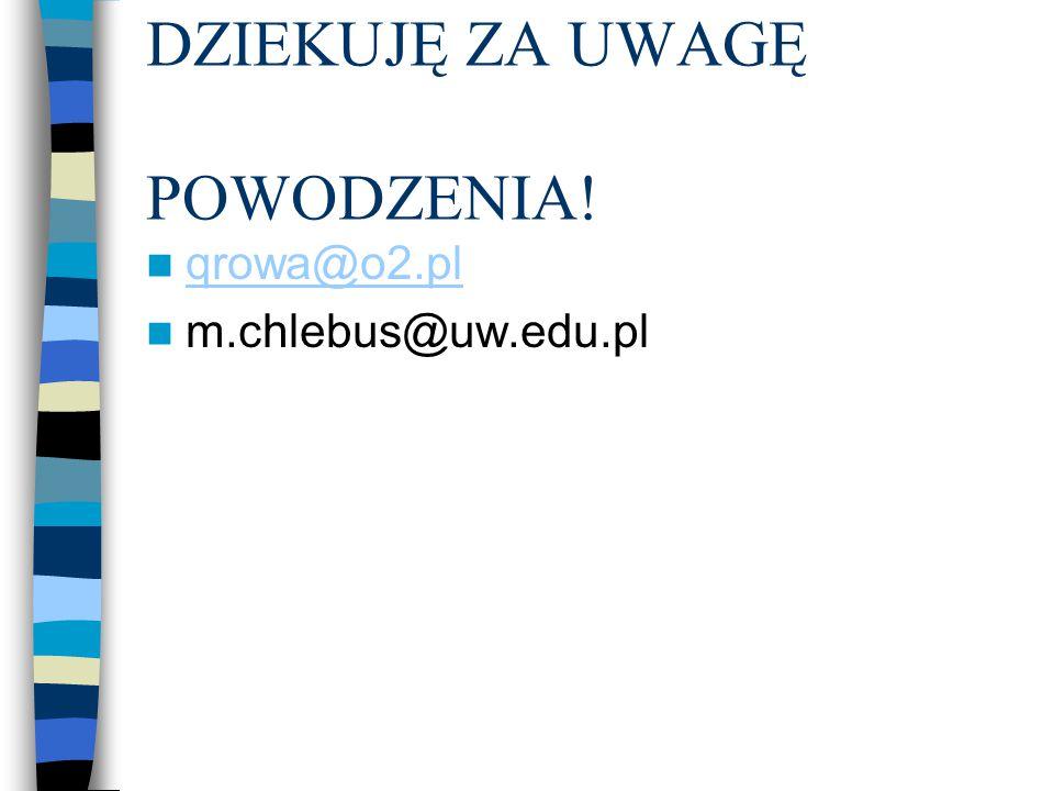 DZIEKUJĘ ZA UWAGĘ POWODZENIA! qrowa@o2.pl m.chlebus@uw.edu.pl